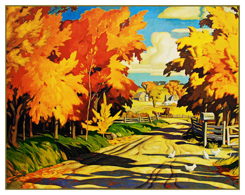 AJ Casson Country Road in Autumn Ontario Canada Landscape Counted Cross Stitch or Counted Needlepoint Pattern