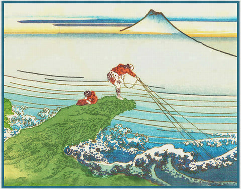 Asian Japanese Fishing in the Surf Hokusai Counted Cross Stitch Chart Pattern