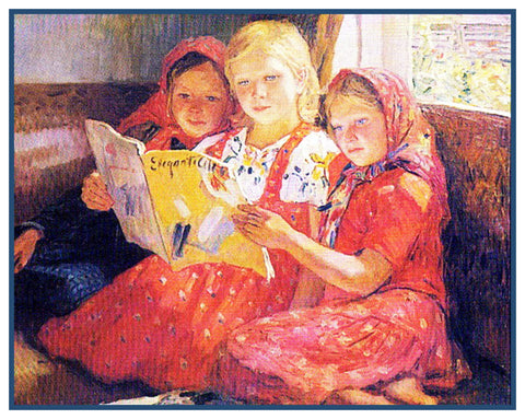 3 Girls Reading By Nikolay Bogdanov-Belsky Counted Cross Stitch Pattern