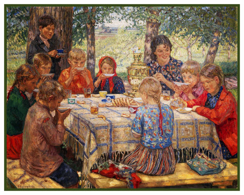 Teachers Birthday Party By Nikolay Bogdanov-Belsky Counted Cross Stitch Pattern