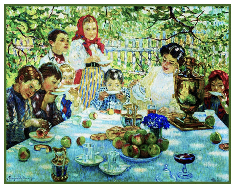 A Picnic With Teacher By Nikolay Bogdanov-Belsky Counted Cross Stitch Pattern