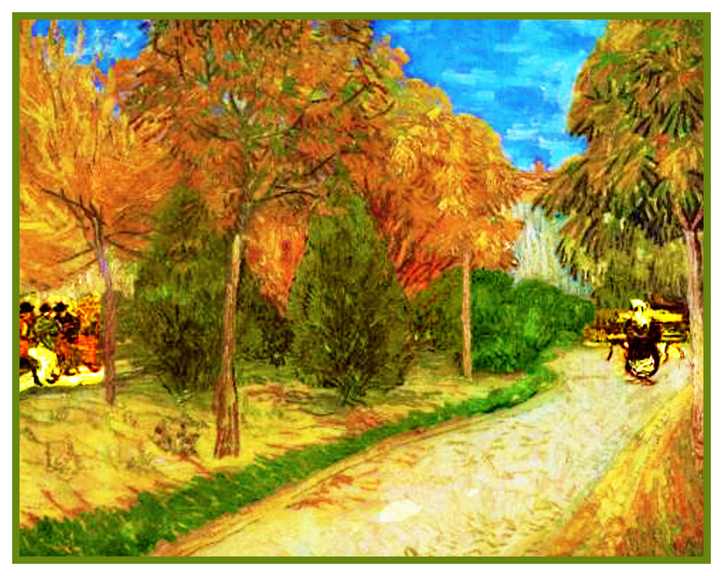 The Footpath in a Park in Arles inspired by Impressionist Vincent Van Gogh's Painting Counted Cross Stitch Pattern