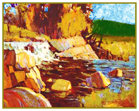 Tom Thomson's Little Waterfall Ontario Canada Landscape Counted Cross Stitch Pattern