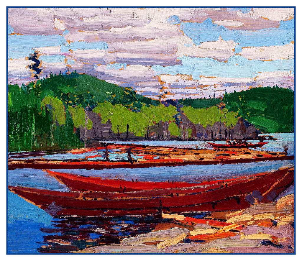 Tom Thomson's River Boats Canada Landscape Counted Cross Stitch Pattern