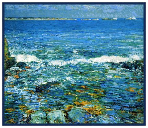 Surf at Duck Island Maine by American Impressionist Painter Childe Hassam Counted Cross Stitch Pattern