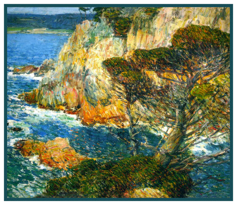 Rocks on Point Lobos Carmel California by American Impressionist Painter Childe Hassam Counted Cross Stitch Pattern