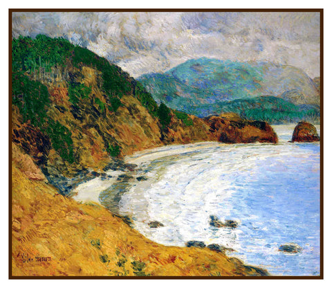 Ecola Beach Oregon Seascape by American Impressionist Painter Childe Hassam Counted Cross Stitch Pattern