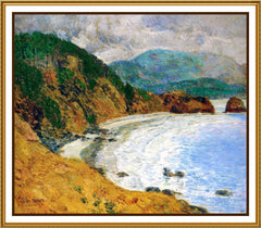 Ecola Beach Oregon Seascape by American Impressionist Painter Childe Hassam Counted Cross Stitch or Counted Needlepoint Pattern