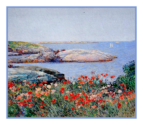 Poppy Flowers in the Garden in the Isle of Shoals by American Impressionist Painter Childe Hassam Counted Cross Stitch or Counted Needlepoint Pattern
