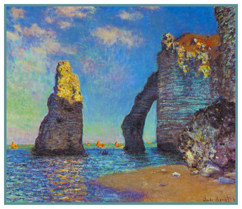 The Cliffs at Etretat inspired by Claude Monet's impressionist painting Counted Cross Stitch or Counted Needlepoint Pattern