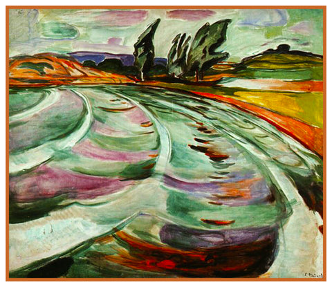 The Wave Landscape by Symbolist Artist Edvard Munch Counted Cross Stitch Pattern