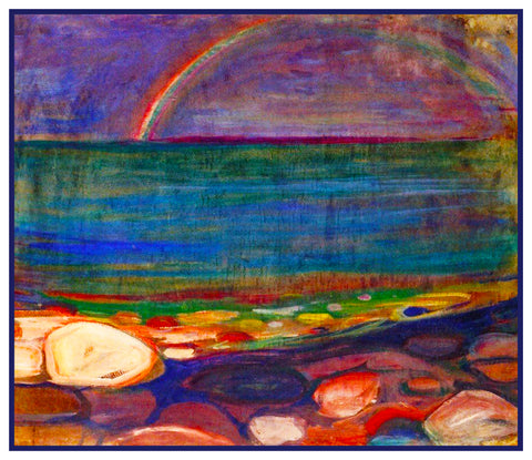 Rainbow on the Shore Landscape by Symbolist Artist Edvard Munch Counted Cross Stitch Pattern