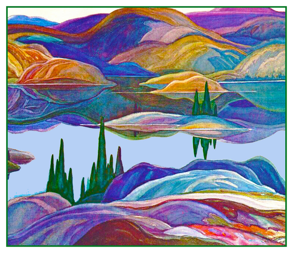 Franklin Carmichael's Mirror Lake Ontario Canada Landscape Counted Cross Stitch or Counted Needlepoint Pattern