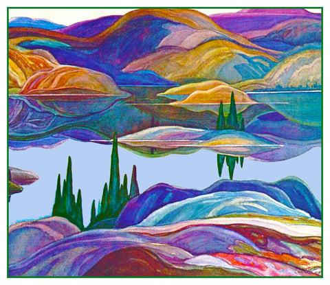 Franklin Carmichael's Mirror Lake Ontario Canada Landscape Counted Cross Stitch Pattern DIGITAL DOWNLOAD