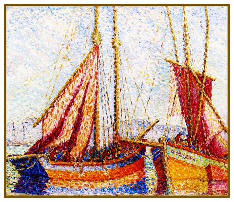 Henri-Edmond Cross Sailboats in Harbor France Orenco Originals Counted Cross Stitch Pattern