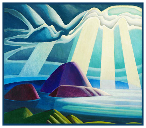 Lawren Harris's Lake Superior Canada Landscape Counted Cross Stitch Pattern DIGITAL DOWNLOAD