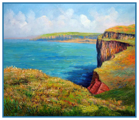 The Cliff At Varengeville inspired by Claude Monet's Impressionist painting Counted Cross Stitch Pattern DIGITAL DOWNLOAD