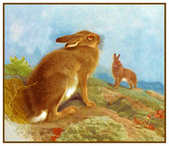 Mountain Hare Rabbit by Naturalist Archibald Thorburn's Animal Counted Cross Stitch Pattern