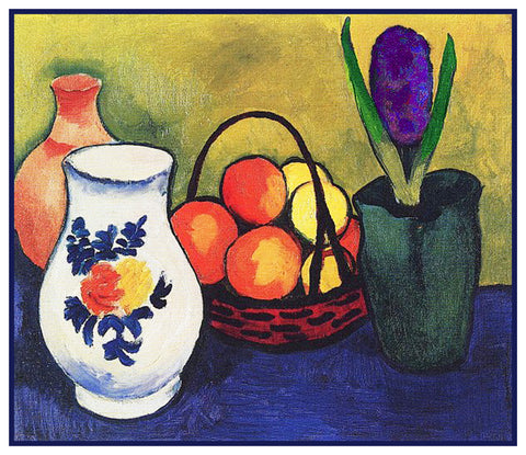 Still Life Fruit Hyacinth Flower and Jug by Expressionist Artist August Macke Counted Cross Stitch Pattern