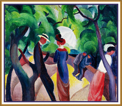 The Walk Promenade by Expressionist Artist August Macke Counted Cross Stitch or Counted Needlepoint Pattern