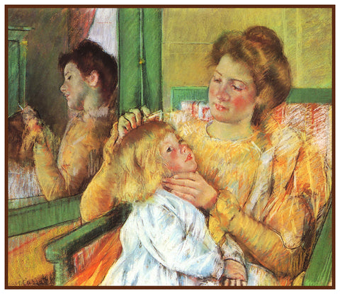 Mother Combing Childs Hair by American impressionist artist Mary Cassatt Counted Cross Stitch Pattern
