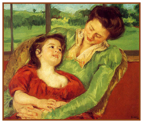 Rene and Margot at the Window by American Impressionist Artist Mary Cassatt Counted Cross Stitch Pattern