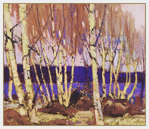 Tom Thomson's Evening at Canoe Lake Canada Landscape Counted Cross Stitch Pattern DIGITAL DOWNLOAD