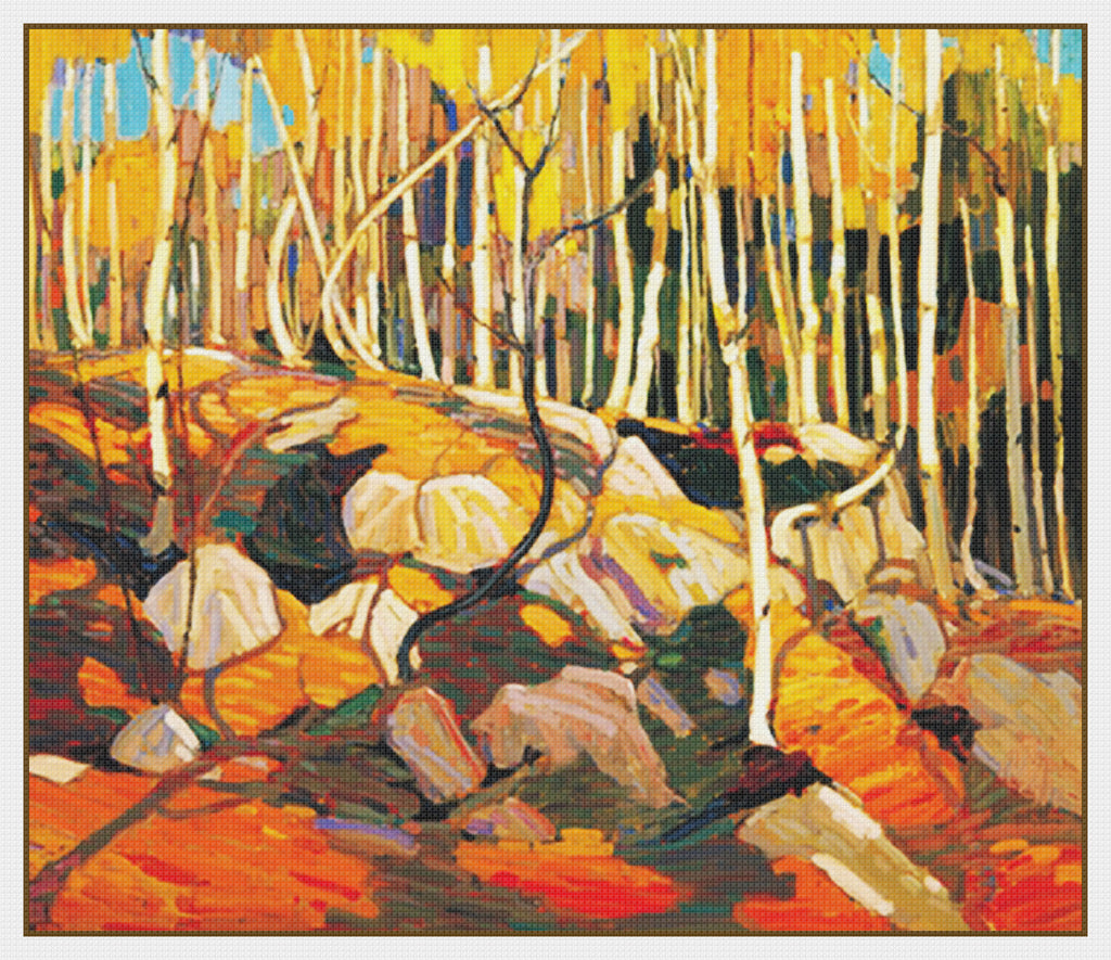 Tom Thomson's The Birch Grove in Autumn Canada Landscape Counted Cross Stitch Pattern