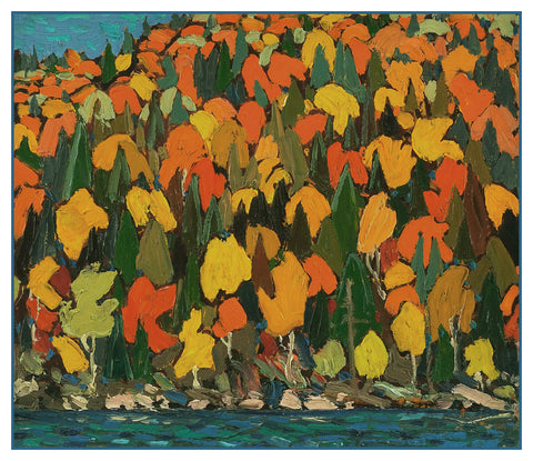 Tom Thomson's Autumn Foliage Leaves Ontario Canada Landscape Counted Cross Stitch Pattern