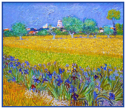 Field with Irises in Arles France by Vincent Van Gogh Counted Cross Stitch Pattern DIGITAL DOWNLOAD