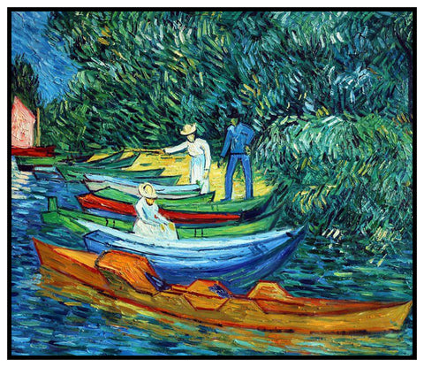 Rowing Boats in Arles France by Vincent Van Gogh Counted Cross Stitch or Counted Needlepoint Pattern