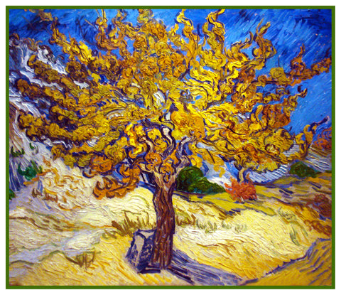 The Mulberry Tree inspired by Vincent Van Gogh's impressionist painting Counted Cross Stitch or Counted Needlepoint Pattern