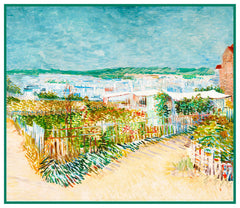 The Vegetable Garden in Montmartre inspired by Impressionist Vincent Van Gogh's Painting Counted Cross Stitch or Counted Needlepoint Pattern