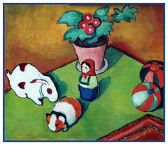 Child Little Walter's Toys by Expressionist Artist August Macke Counted Cross Stitch or Counted Needlepoint Pattern
