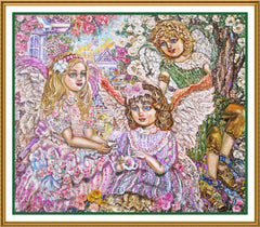 A Tea Party of Angels inpsired by Yumi Sugai Counted Cross Stitch or Counted Needlepoint Pattern