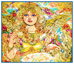 Angel of The Golden Pearls inpsired by Yumi Sugai Counted Cross Stitch Pattern