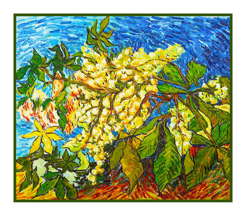 Chestnut Tree Blossoms inspired by Impressionist Vincent Van Gogh's Painting Counted Cross Stitch Pattern