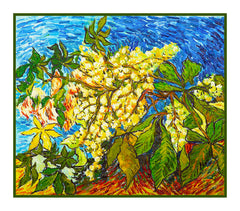 Chestnut Tree Blossoms inspired by Impressionist Vincent Van Gogh's Painting Counted Cross Stitch  Pattern - Orenco Originals LLC