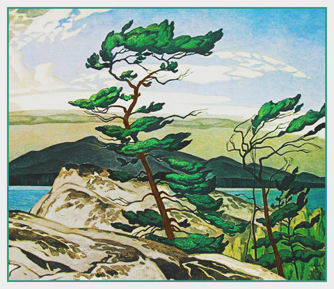 AJ Casson White Jack Pine Tree Ontario Canada Landscape Counted Cross Stitch Pattern DIGITAL DOWNLOAD