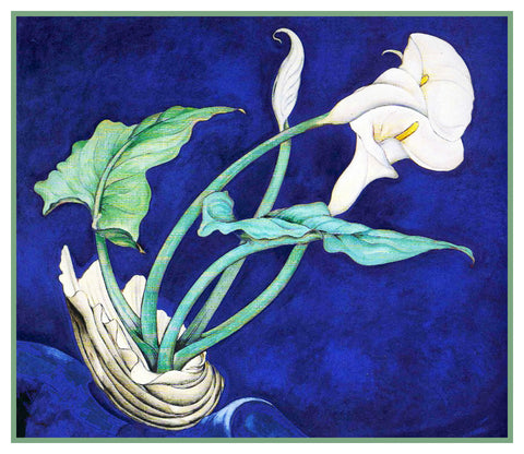 White Calla Lily Flowers Still Life by American Artist Charles Demuth Counted Cross Stitch or Counted Needlepoint Pattern