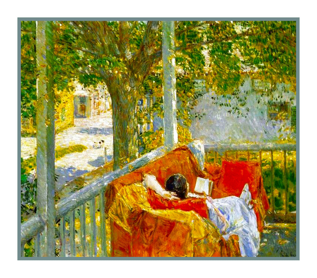A Summer Nap on Porch in Hamptons by American Impressionist Painter Childe Hassam Counted Cross Stitch or Counted Needlepoint Pattern