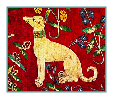 Dog Detail from the Lady and The Unicorn Tapestries Counted Cross Stitch or Counted Needlepoint Pattern
