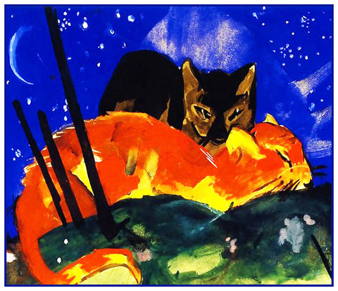Two Cats Sleeping Under the Stars by Expressionist Artis Franz Marc Counted Cross Stitch or Counted Needlepoint Pattern