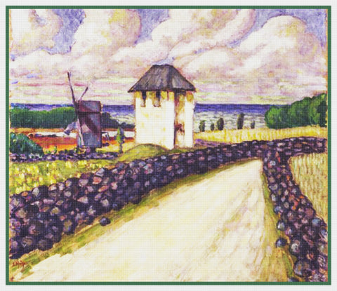 Bell Tower Landscape by Artist Konrad Mägi Counted Cross Stitch Pattern