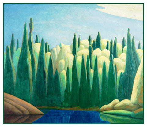 Lawren Harris's Spring on Oxtongue River Ontario Canada Landscape Counted Cross Stitch Pattern