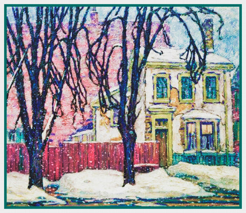 A Sunset Snow Landscape by Canadian Lawren Harris Counted Cross Stitch Pattern