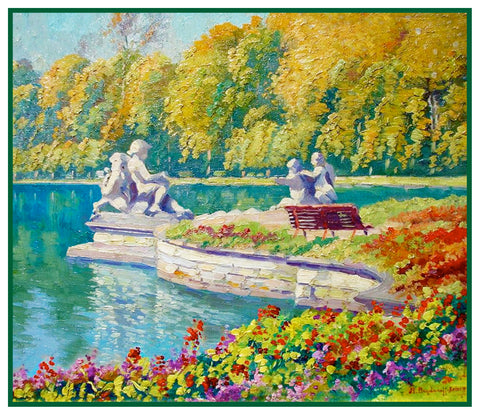 Garden by Lake Landscape by Russian Nikolay Belsky Counted Cross Stitch Pattern