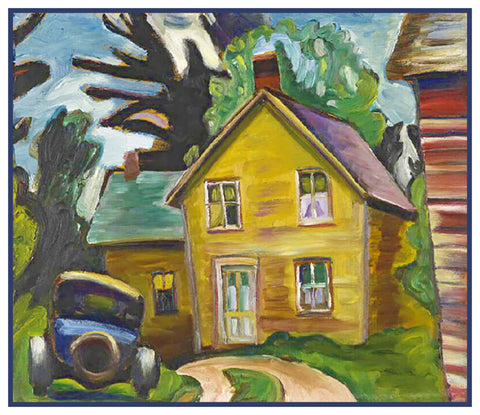 Farmhouse Car by Canadian Artist Prudence Heward Counted Cross Stitch Pattern
