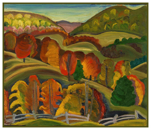 Autumn Hills by Canadian Artist Prudence Heward Counted Cross Stitch Pattern