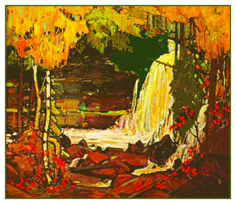 Tom Thomson's Woodland Waterfall Ontario Canada Landscape Counted Cross Stitch Pattern